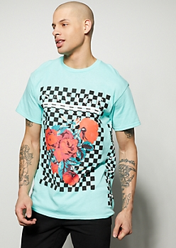 Mint Savage Checkered Print Rose Graphic Tee