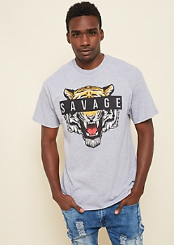 Gray Savage Tiger Box Tee