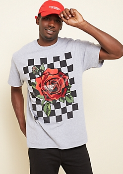 Gray Checkered Rose Tee