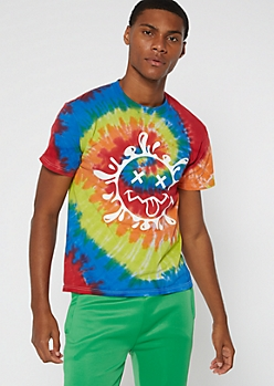 Rainbow Tie Dye Smiley X Graphic Tee