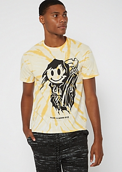 Yellow Tie Dye Smiley Reaper Graphic Tee
