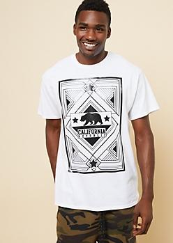 White Geo California Bear Tee