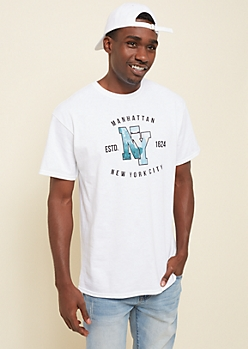 White Manhatten Cityscape Graphic Tee