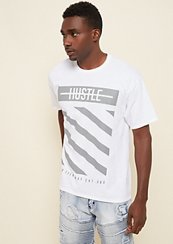 White Striped Hustle Box Tee