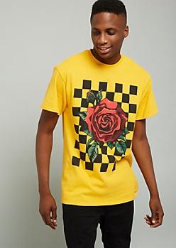 Dark Yellow Checkered Rose Graphic Tee