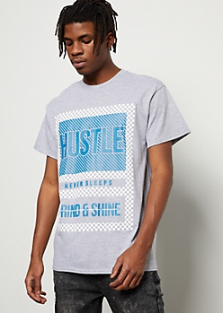 Gray Hustle Striped Checkered Print Graphic Tee