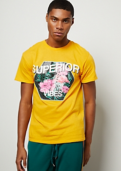 Mustard Tropical Floral Print Superior Vibes Graphic Tee