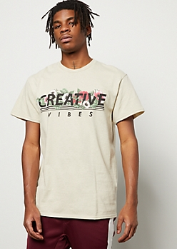 Sand Creative Vibes Floral Print Graphic Tee