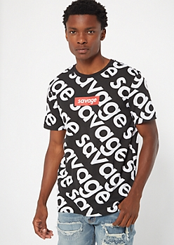 Black Savage Print Graphic Tee