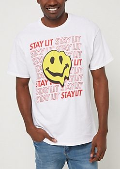 White Stay Lit Smiley Face Tee