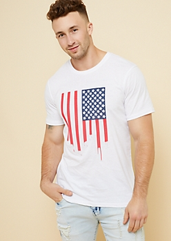 White Raised Drip American Flag Tee