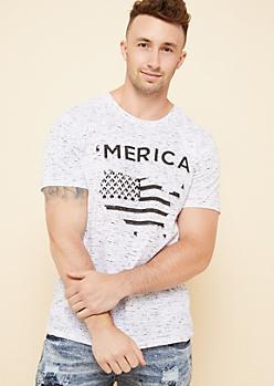 White Space Dye Raised American Flag Tee
