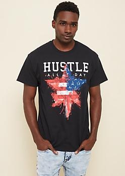 Black Hustle American Flag Star Tee