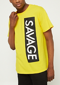 Yellow Savage Vertical Box Tee