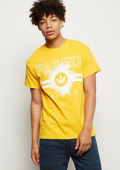 Yellow Faded Vibes Weed Print Graphic Tee