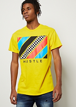 Yellow Striped Hustle Graphic Tee