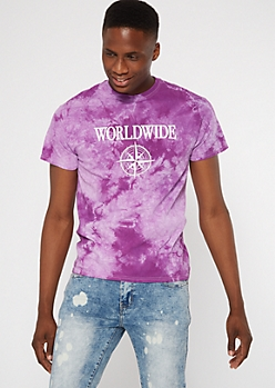 Purple Tie Dye Worldwide Graphic Tee