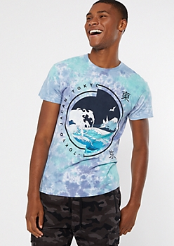 Blue Tie Dye Wave Short Sleeve Graphic Tee