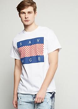 White Checkered Print Savage Graphic Tee