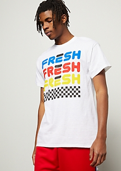 White Fresh Checkered Print Graphic Tee