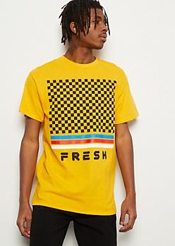 Dark Yellow Checkered Print Fresh Graphic Tee