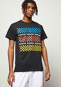 Black Repeated Checkered Print Savage Graphic Tee