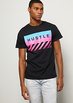 Black Ombre Striped Hustle Graphic Tee