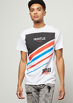 White Hustle Hard Diagonal Striped Graphic Tee