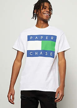 White Colorblock Paper Chase Graphic Tee