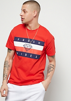 Red Fresh Vibes Colorblock Graphic Tee