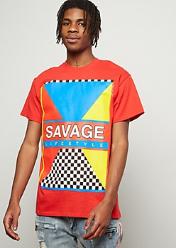 Red Savage Lifestyle Geometric Graphic Tee