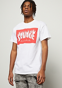 White Savage Vibes Flames Graphic Tee