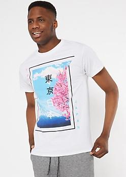 White Tokyo Cherry Blossom Kanji Graphic Tee