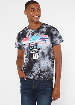 Black Tie Dye Japan Cherry Blossom Graphic Tee