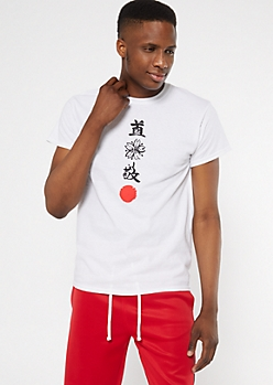 White Vertical Kanji Graphic Tee