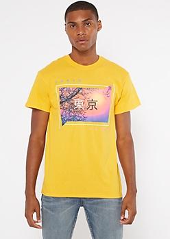 Yellow Tokyo Cherry Blossom Kanji Graphic Tee