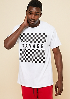 White Checkerboard Savage Graphic Tee