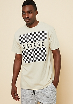 Sand Checkerboard Savage Graphic Tee