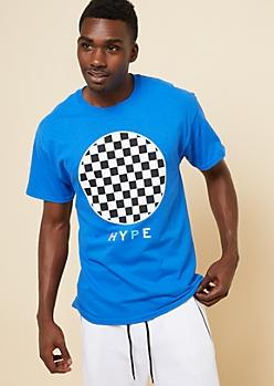 Blue Checkered Circle Hype Tee