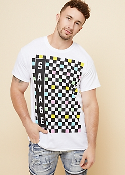 White Pastel Checkerboard Savage Graphic Tee