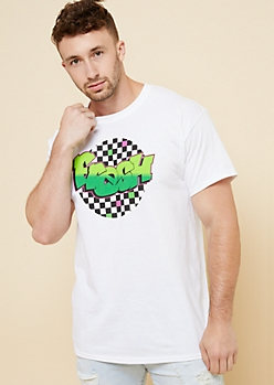 White Checkerboard Fresh Graphic Tee