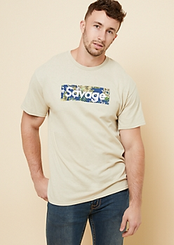 Sand Floral Print Savage Box Graphic Tee