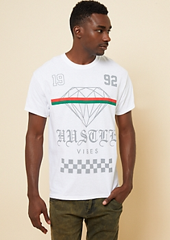 White Hustle Vibes Diamond Graphic Tee