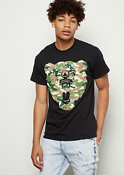 Black Camo Print Cali Bear Graphic Tee