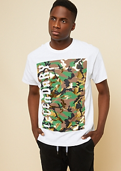 White Legendary Metallic Camo Print Tee