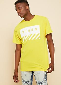 Yellow Vibes Box Diagonal Striped Tee