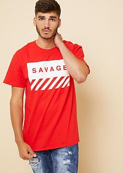 Red Savage Box Diagonal Striped Tee