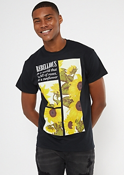 Black Be A Sunflower Graphic Tee