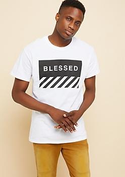 White Blessed Box Diagonal Striped Tee