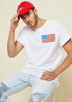 White American Flag Chest Tee